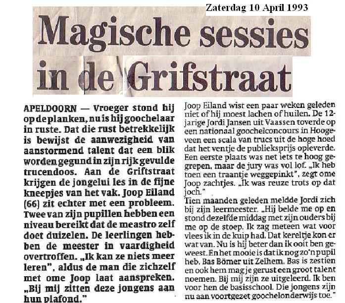 Kranten artikel uit 1993